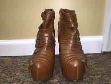 Urbanog.com women brown platform zip heels shoes faux leather size 7 pre-owne