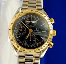 Mens Omega Speedmaster 18K Gold SS Automatic Chronograph Watch Day Date 3321.80