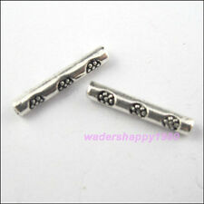 90Pcs New Charms Tibetan Silver Tone Flower Tube Spacer Beads 2.5x14.5mm