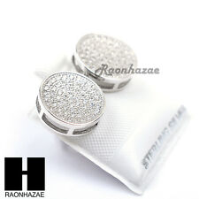Iced Out Sterling Silver .925 Lab Diamond 12mm Circle Screw Back Earring SE026S