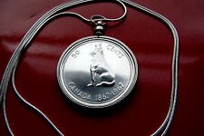 "1967 CANADA Real SILVER  WOLF BEZEL PENDANT 30"" 925 Sterling Silver Snake Chain"
