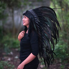 INDIAN HEADDRESS, Native American Costume, Chief Warbonnet, Black Headdress