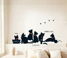 Six Black Cats Playing Wall Sticker Decal Vinyl Art Home Kids Room Decor