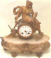 Gilded Spelter Marble Case French Striking Movement Mantle Clock on Stand
