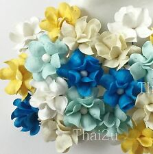 50 Small Mulberry Paper Flowers Scrapbook Wedding Decor Roses DIY Crafts S15-620