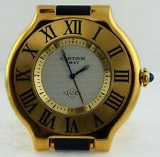 Vintage Estate Must De Cartier 21 Travel Alarm Clock Watch Roman Face Gold Case
