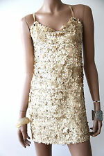 Allison Parris Gold Sequin Cocktail Dress Swarovski Top S Small XS LBD Gown