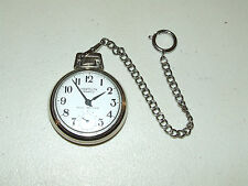 Vintage Working WESTCLOX Scotty Deco Stainless Pocket Watch with Watch Chain USA