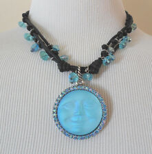 KIRKS FOLLY SEAVIEW MOON MAGIC CORDED NECKLACE SILVERTONE/AQUA 35 mm MOON