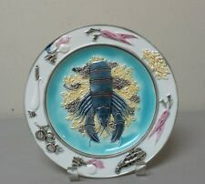 "19th C. ENGLISH WEDGWOOD MAJOLICA ART POTTERY 8.5"" LOBSTER & VEGETABLES PLATE"