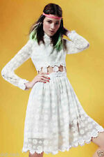 TOPSHOP WHITE DAISY CHAIN CROCHET LACE CUT OUT DRESS UK14/EU42/US10 RRP £65