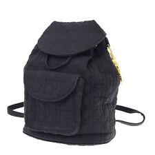 Authentic Christian Dior Lady CD Cannage Backpack Bag Nylon Black Italy 09R896