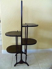Antique English Cake Stand-Folding flat-dark wood tone-painted flowers-4 shelves