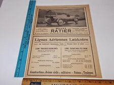 Rare Orig VTG 1924 Helices Ratier Aviation Propeller Car Advertising Art Print