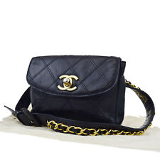 Authentic CHANEL CC Logos Quilted Bum Bag Pouch Leather Blue 65/26 Italy 80A634