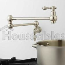 "21"" Classic Retractable Double Joint Wall Mount Pot Filler Brushed Nickel"