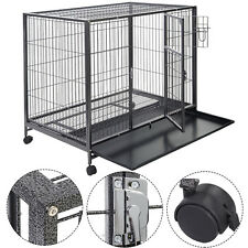 Goplus Black 44 Dog Crate Kennel Heavy Duty Metal Wire Pet Playpen w/ Tra