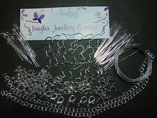 Jewellery Starter Kit, Silver,Head/Eyepin,Earwires,Findings,Chain,Tigertail