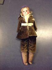 """Antique Armand Marseille 3200 Doll - 16"""" - Glass Eyes teeth Leather Body Sawdust"""