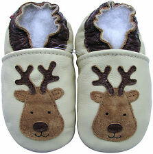 carozoo reindeer cream 6-12m soft sole leather baby shoes