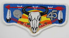 "OA Lodge 459 Catawba S51 Flap; 45 ""Anniversary"" in RED; cow skull  [J365]"