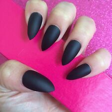 Hand Painted Full Cover False Nails. Stiletto Matte Black Nails. 24 Nail Set.