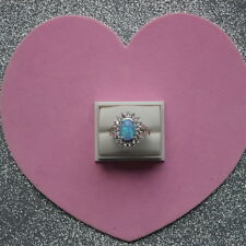 BEAUTIFUL BLUE AUSTRALIAN FIRE OPAL 925 SILVER RING SIZE N12 AND P12 IN BOX