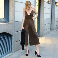 NWT ZARA SHIMMER THREAD JUMPSUIT REF.1165/260 Sz S SMALL GOLD BLOGGERS SOLD OUT
