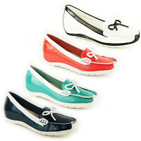 WOMENS LADIES SLIP ON BOAT ROUND TOE LOAFERS MOCCASINS PUMPS SHOES SIZE 3-8