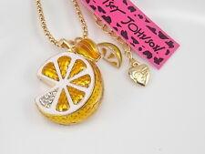 Betsey Johnson Cute inlay Crystal Lemon Pendant Necklace # F181K