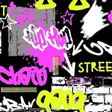 Debona - Wallpaper, Grafitti, Black & Pink, Street Art, Kids home roll BNIB 6391