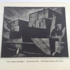 1930s Woodcut Print Taos Pueblo, Moonlight by Howard Cook