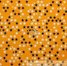 BonEful Fabric Cotton Quilt Orange Black White B&W STAR Halloween Holiday SCRAP