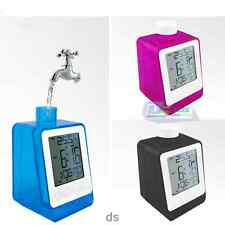 New Water Power Digital LCD Alarm Clock with Calendar &Temperature Office Home