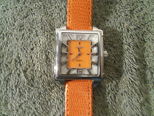 BIJOUX TERNER WOMENS ORANGE FAUX LEATHER BAND SILVER DIAL WATCH #K-10992