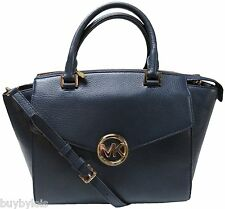 Michael Kors HUDSON Damentasche Satchel LG, NAVY, Leder, Small