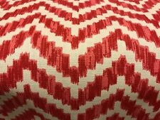 HOME ACCENTS RED COTTON PRINT CHEVRON UPHOLSTERY FABRIC 12.625 YARDS