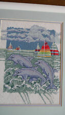 Completed BRENT Needle Treasures Needlepoint DANCING DOLPHINS Ocean Boat JCA NEW