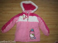 NEW☀ HELLO KITTY PUFFER JACKET COAT TOP Girls 6X WINTER WHITE PINK $75 Retail