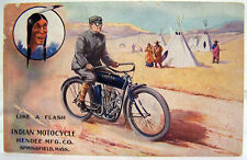 c1907 INDIAN V-TWIN ROADSTER Motorcycle Advertising Postcard ~ Hendee Mfg. Co.