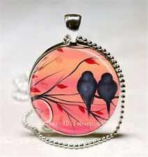 Vintage Magpie Bird Cabochon Silver plated Glass Ball Chain Pendant Necklace; t6