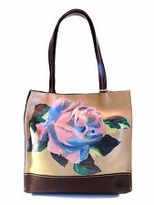 Patricia Nash Toscano Tote Sand Brown & Winter Bloom Floral Italian Leather Bag