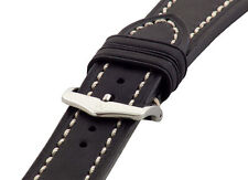Hirsch LIBERTY Artisan Leather Contrast Stitch Watch Band Strap Black 20mm