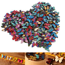 50Pcs Butterfly Phantom Wooden Sewing Buttons Scrapbooking Craft Random Color