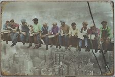 """Metal Tin Sign 30 x 20 cm """" Workers on Girder """""""