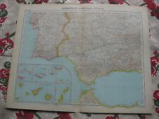 1919-1922 Atlas Schrader Carte couleurs lithographie Espagne et Portugal S-O