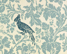 Drapery Upholstery Fabric Cotton Slub Floral Bird Design - Blue/Green, Navy
