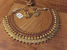 New Indian Ethnic Temple Jewelry Gold Plated Ruby Pink Laxmi Kanthi Necklace Set