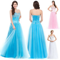 Corset Beaded Long Bridesmaid Wedding Evening Party Ball Gowns Formal Prom Dress