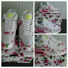 beautiful air max 90 white rose floral women's trainers  size 3 uk seller